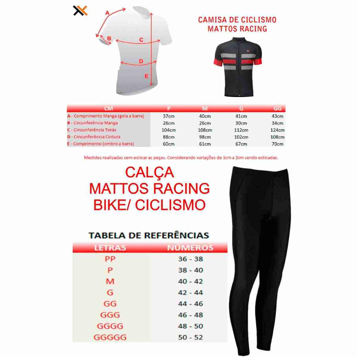 CONJUNTO CICLISMO CAMISA MATTOS RACING BIKE TRACK MTB VERMELHO + CALÇA FORRO GEL MOUNTAIN BIKE