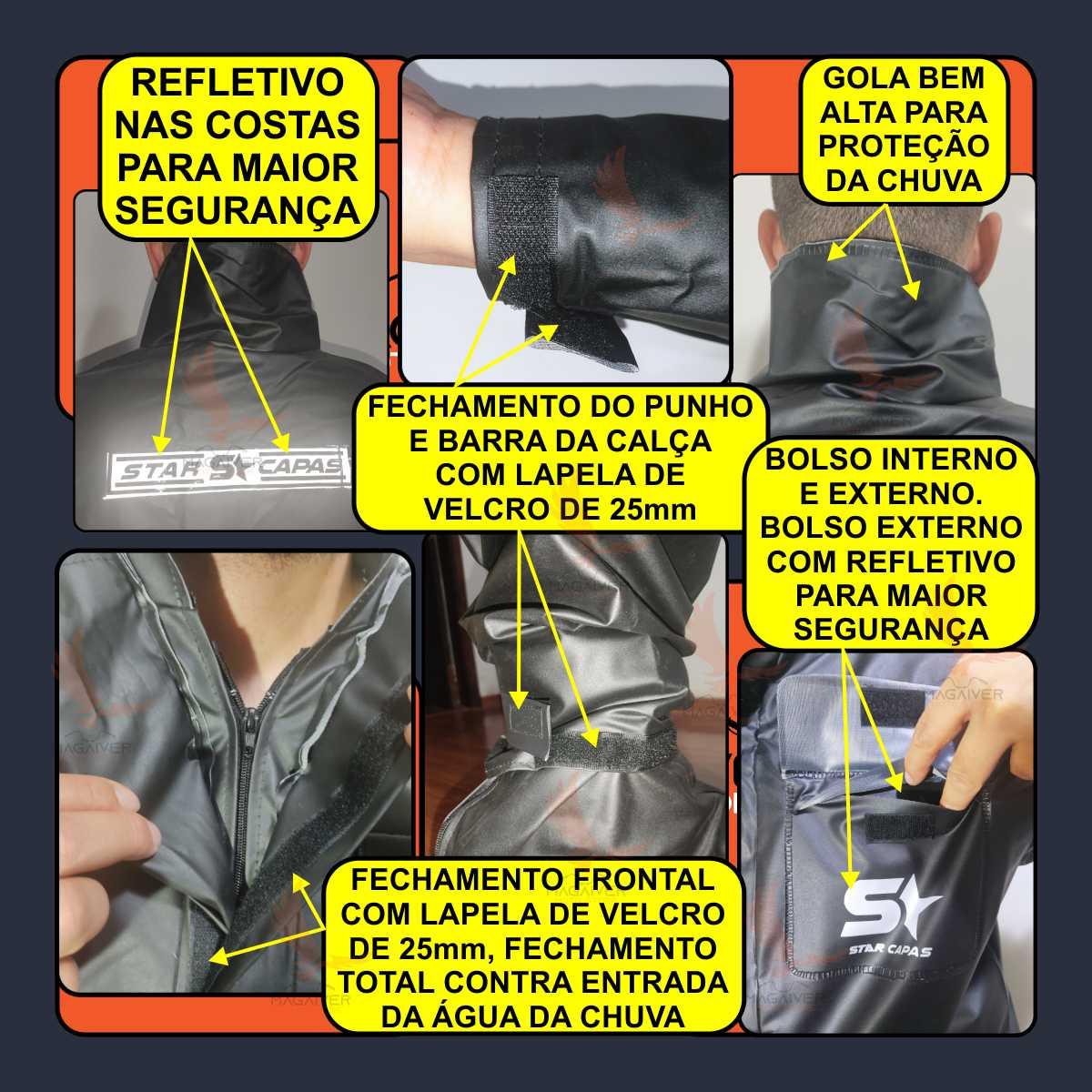 CONJUNTO MOTOQUEIRO MASCULINO CAPA CHUVA STAR CAPAS IMPERMEÁVEL PVC LUXO JAQUETA, CALÇA E POLAINA
