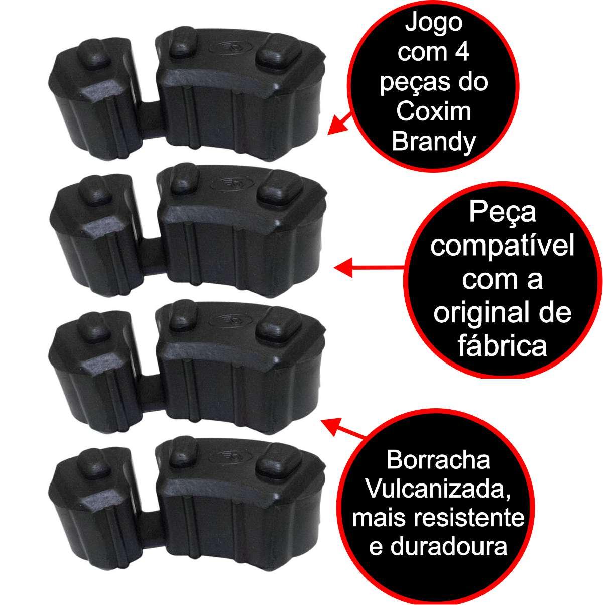 COXIM BRANDY CUBO TRASEIRO BORRACHA RODA MOTO BMW F 650 GS 2008 até 2011 / F 800 GS JOGO COM 4 PEÇAS