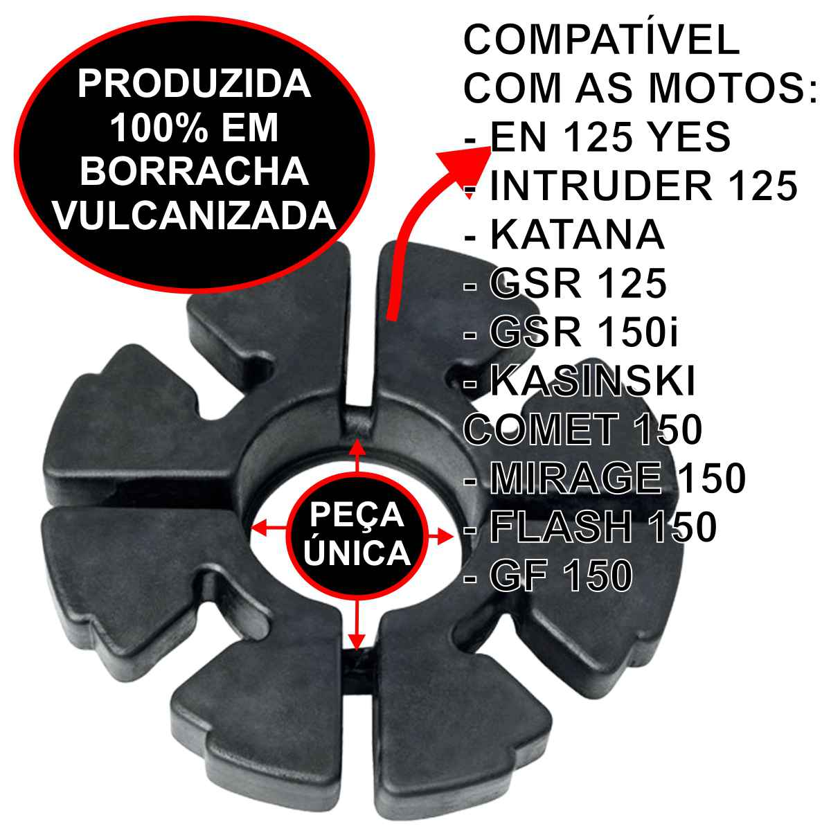 COXIM BRANDY CUBO TRASEIRO BORRACHA RODA MOTO EN 125 YES / INTRUDER / KATANA / COMET 150 PEÇA ÚNICA