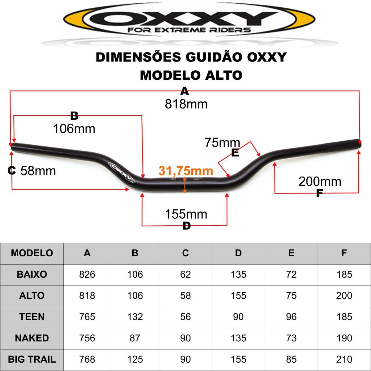 GUIDAO ESPORTIVO DE MOTO OXXY ALTO + ADAPTADOR OX7 ALLOY ALTO PRETO 31,8 - COR DOURADO