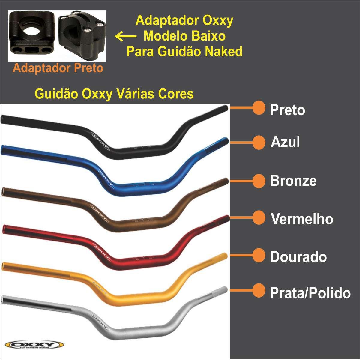 GUIDAO MOTO OXXY MODELO NAKED VERMELHO + ADAPTADOR OX7 ALLOY ALTO PRETO 31,8