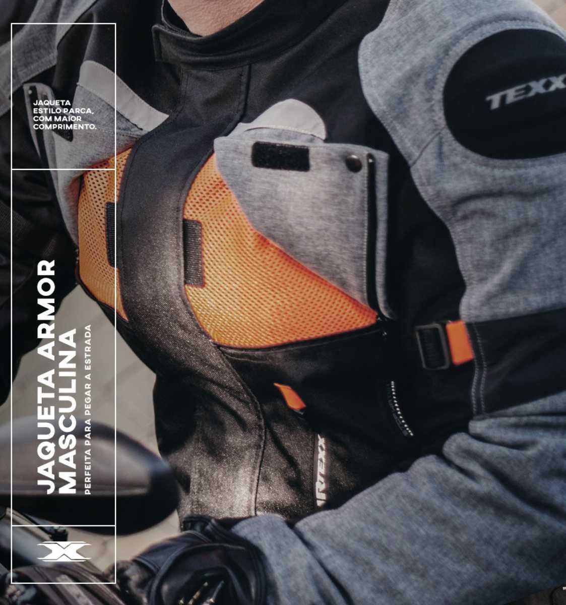 JAQUETA DE MOTOQUEIRO TEXX ARMOR PARKA BIG TRAIL IMPERMEÁVEL MOTOCICLISTA 3G + PAR LUVA PROTEÇÕES