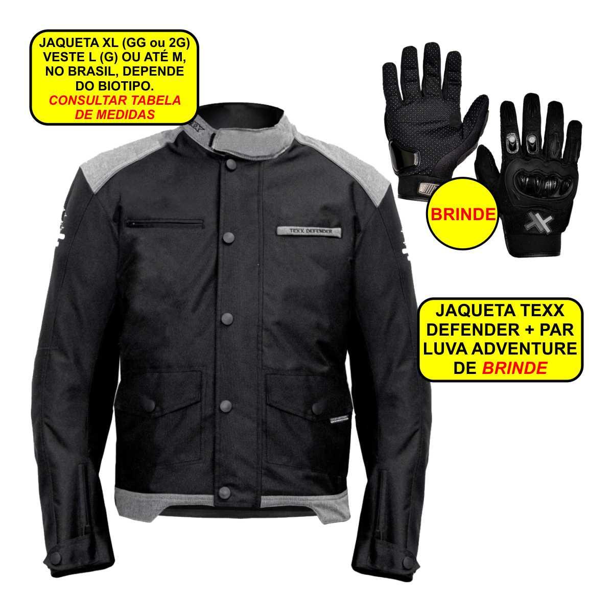 JAQUETA DE MOTOQUEIRO TEXX DEFENDER COM PROTEÇÕES IMPERMEÁVEL MOTOCICLISTA GG + PAR LUVA PROTEÇÕES