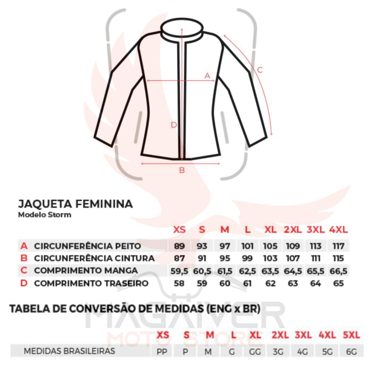 JAQUETA MOTOCICLISTA TEXX STORM LADY COURO FEMININA PRETO