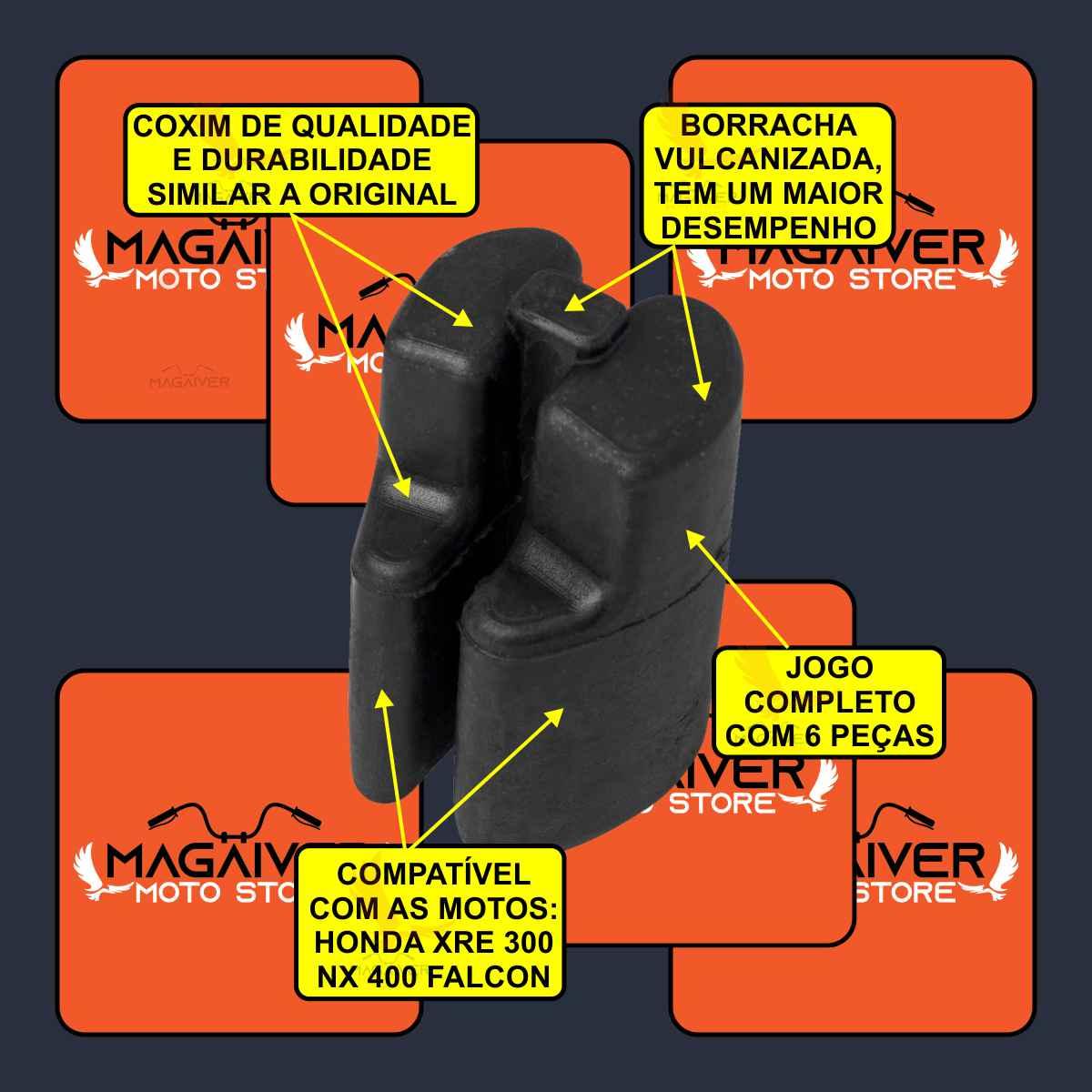 JOGO COXIM BORRACHA BUCHA DA COROA CUBO RODA TRASEIRO MOTO NX 400 FALCON XRE 300 + GRAXA SPRAY 60ml