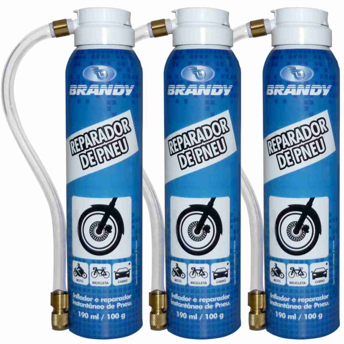 KIT 03 REPARADOR DE PNEUS BRANDY 190ML P/ MOTOS