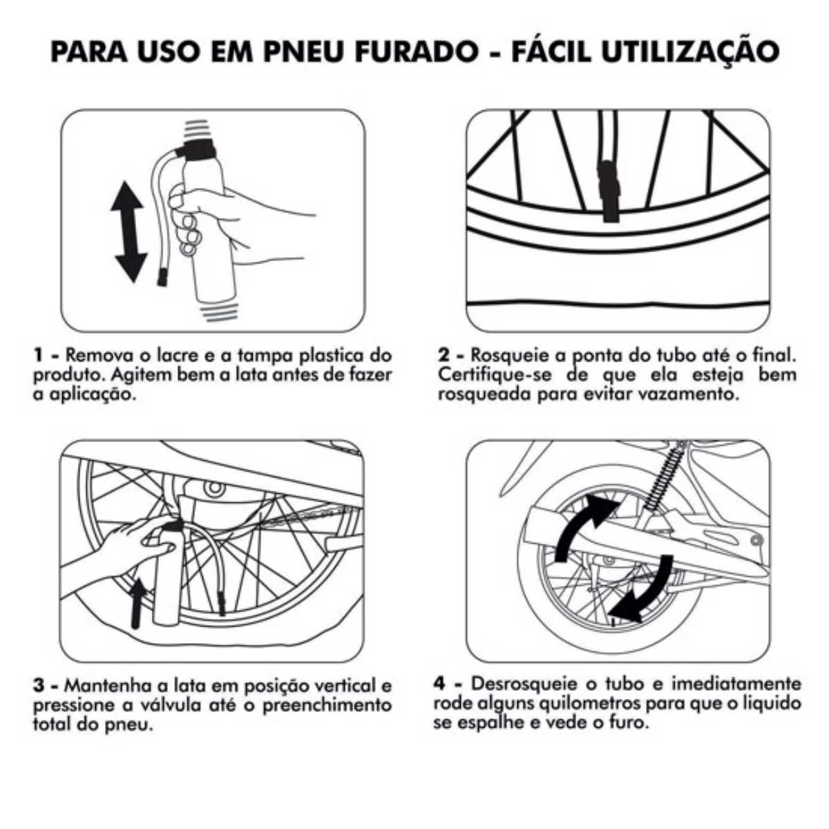 KIT 03 REPARADOR DE PNEUS BRANDY 190ML PARA MOTOS