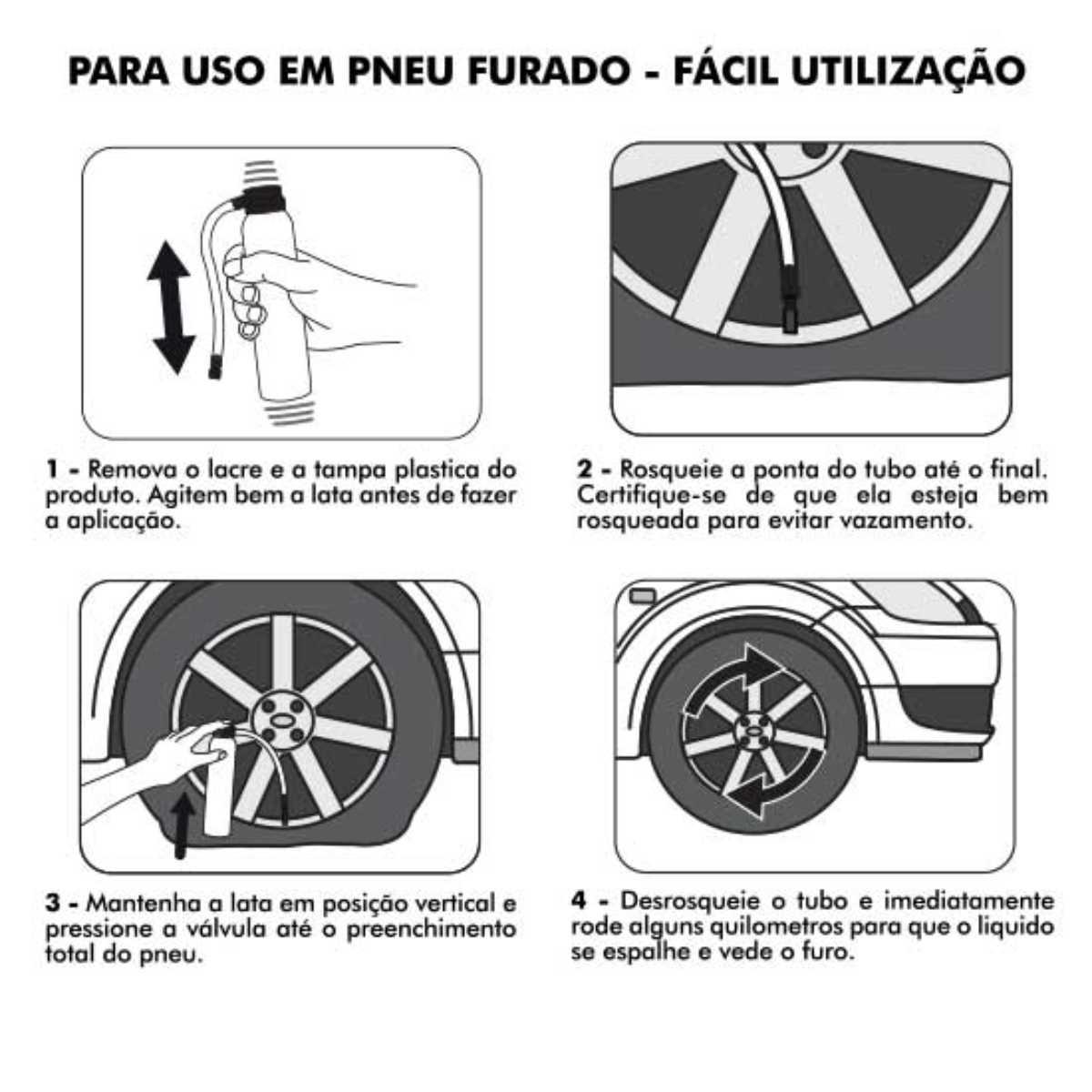 KIT 04 REPARADOR SELADOR DE PNEU DE CARRO FURADO BRANDY 300ML TIPO VACINA