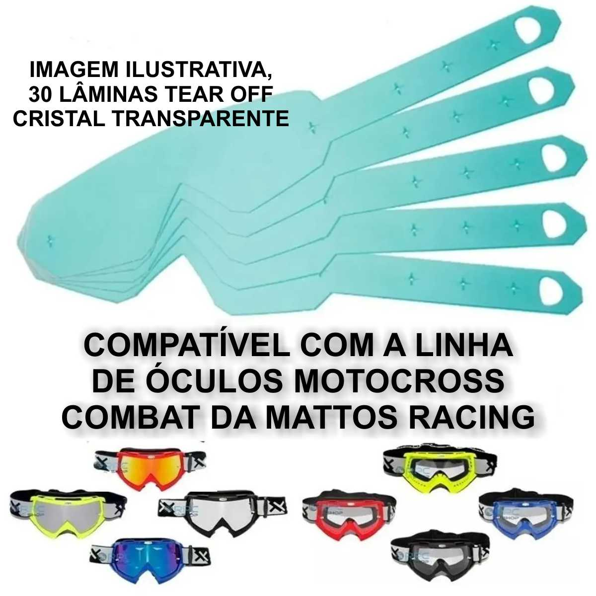 KIT 30 LÂMINA  TEAR OFF MATTOS RACING TRANSPARENTE PARA ÓCULOS CROSS MOTOCROSS TRILHA