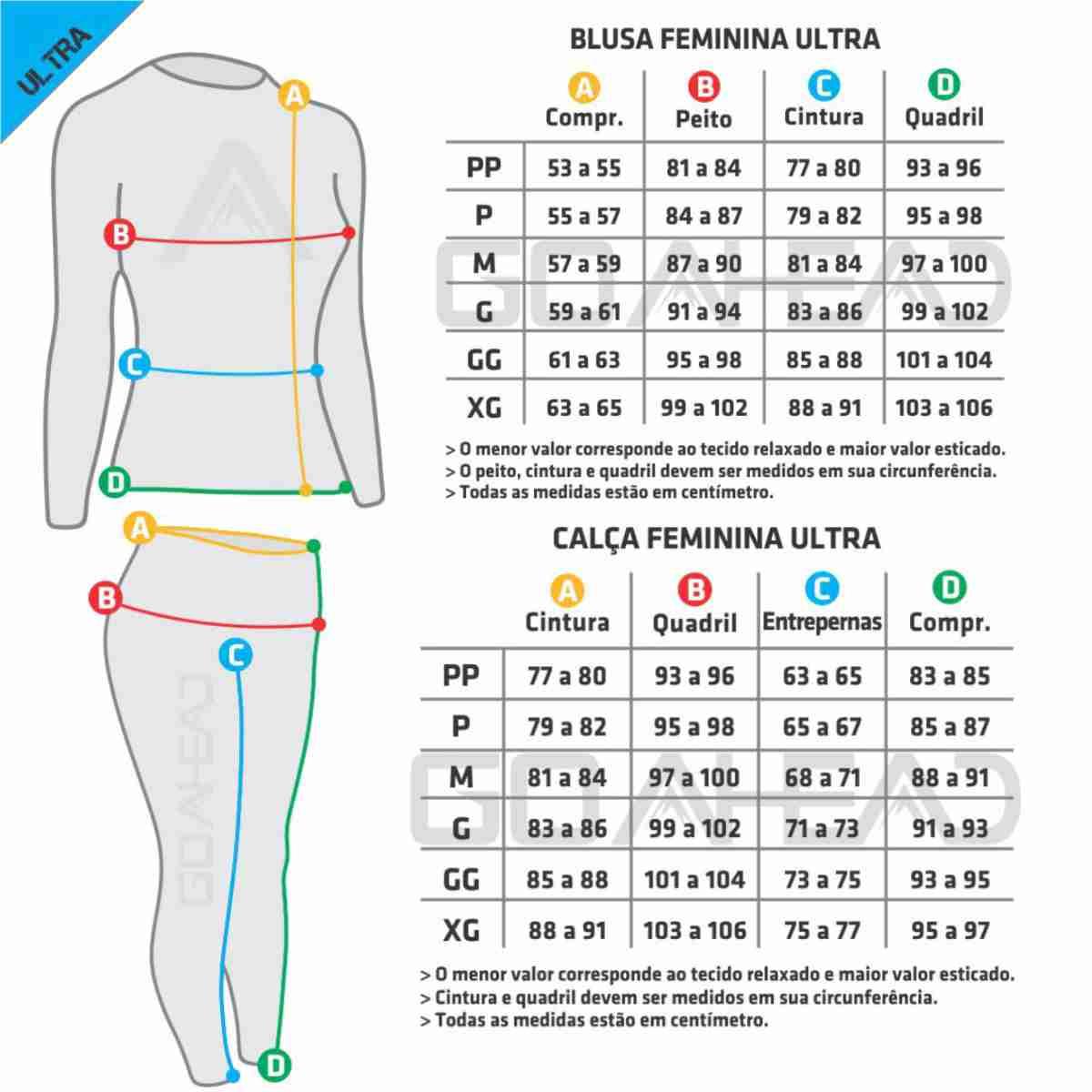 KIT BLUSA GO AHEAD FEMININA SEGUNDA PELE ZÍPER ULTRA + CALÇA ( FRIO - INVERNO )