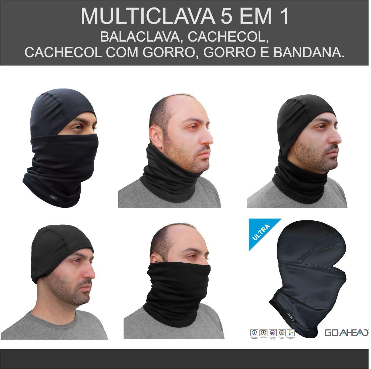 KIT C/ 02 MULTICLAVA GO AHEAD PRETO TAMANHO ÚNICO EXTREME PROTEÇÃO FRIO EXTREMO INVERNO