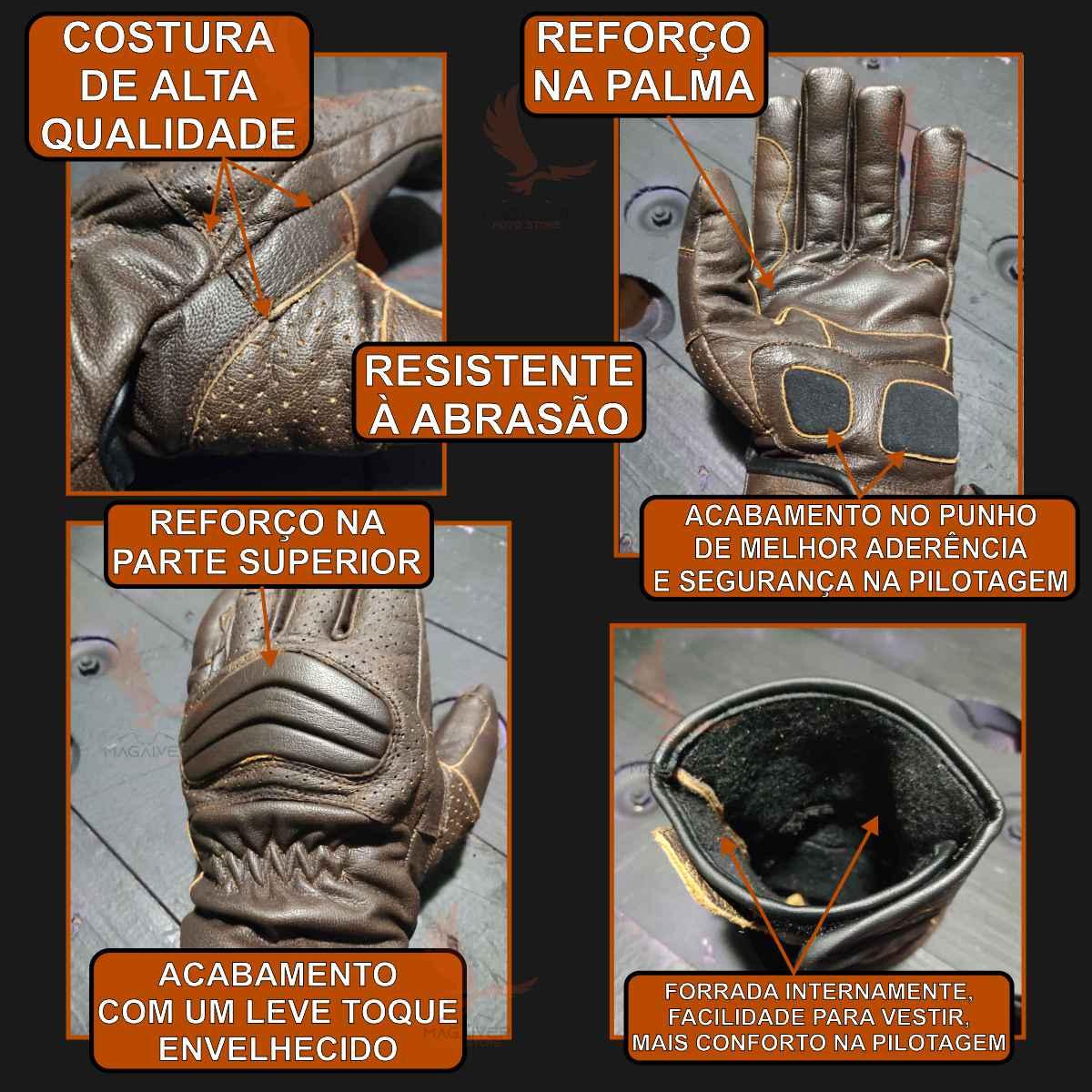 KIT CAPACETE ABERTO KRAFT CUSTOM PLUS VINTAGE REVESTIDO + LUVA DE COURO BOVINO HLX MARROM RETRÔ