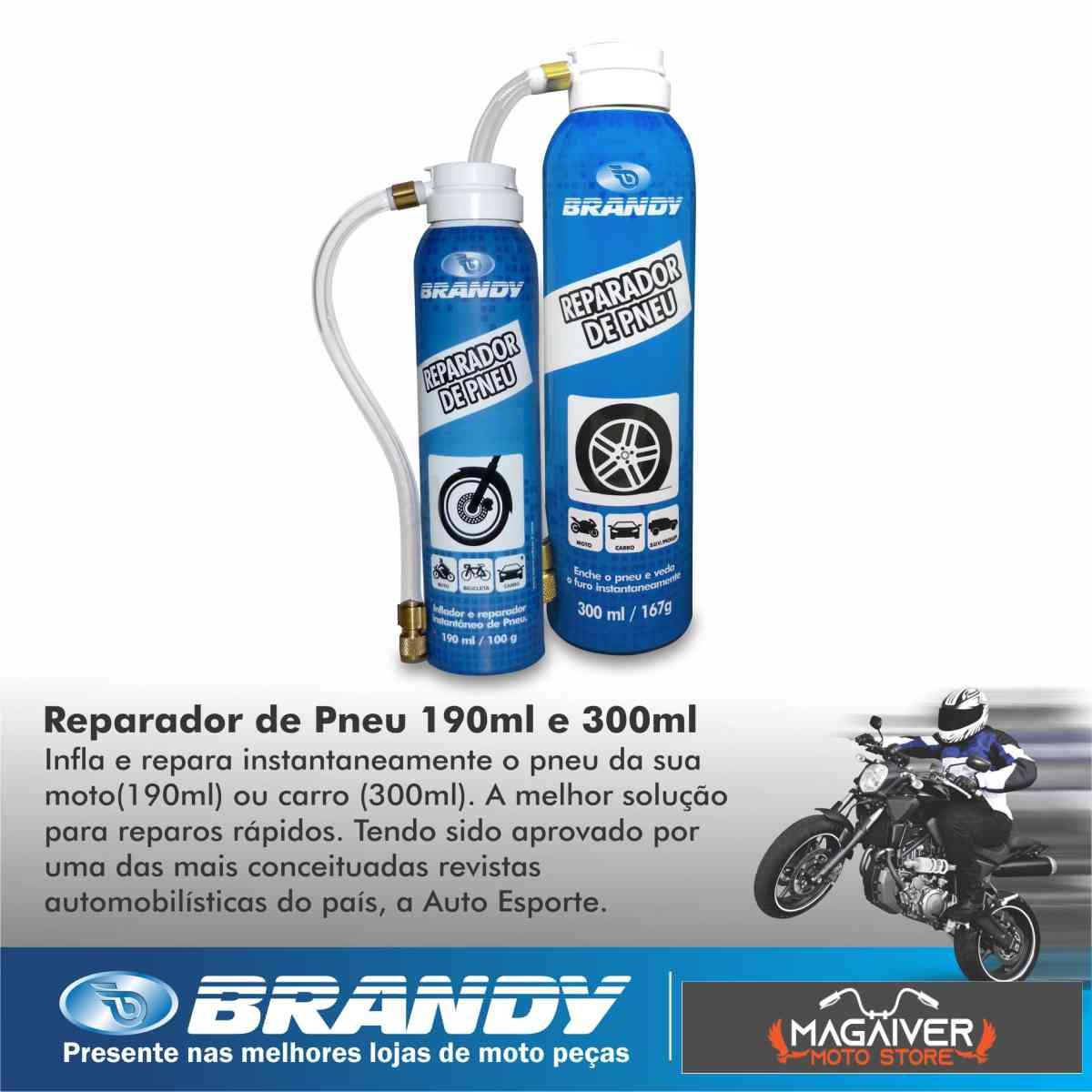 KIT COM 4 REPARADOR SELADOR DE PNEU DE MOTO FURADO BRANDY 190ML