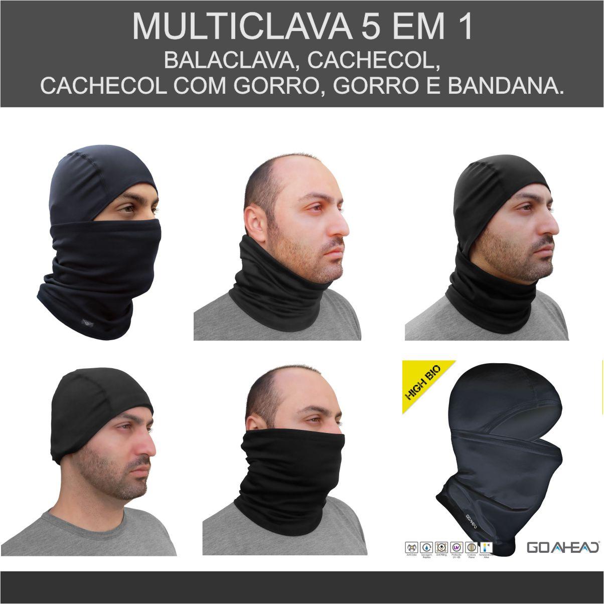 KIT COM MULTICLAVA GO AHEAD BRANCA HIGH BIO VERÃO + BALACLAVA GO AHEAD PRETA ULTRA INVERNO EXTREME