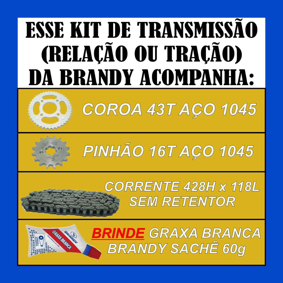KIT DE TRANSMISSÃO RELAÇÃO MOTO CG TITAN FAN CARGO START 150 DE TRAÇÃO AÇO 1045 + GRAXA SACHÊ 60g