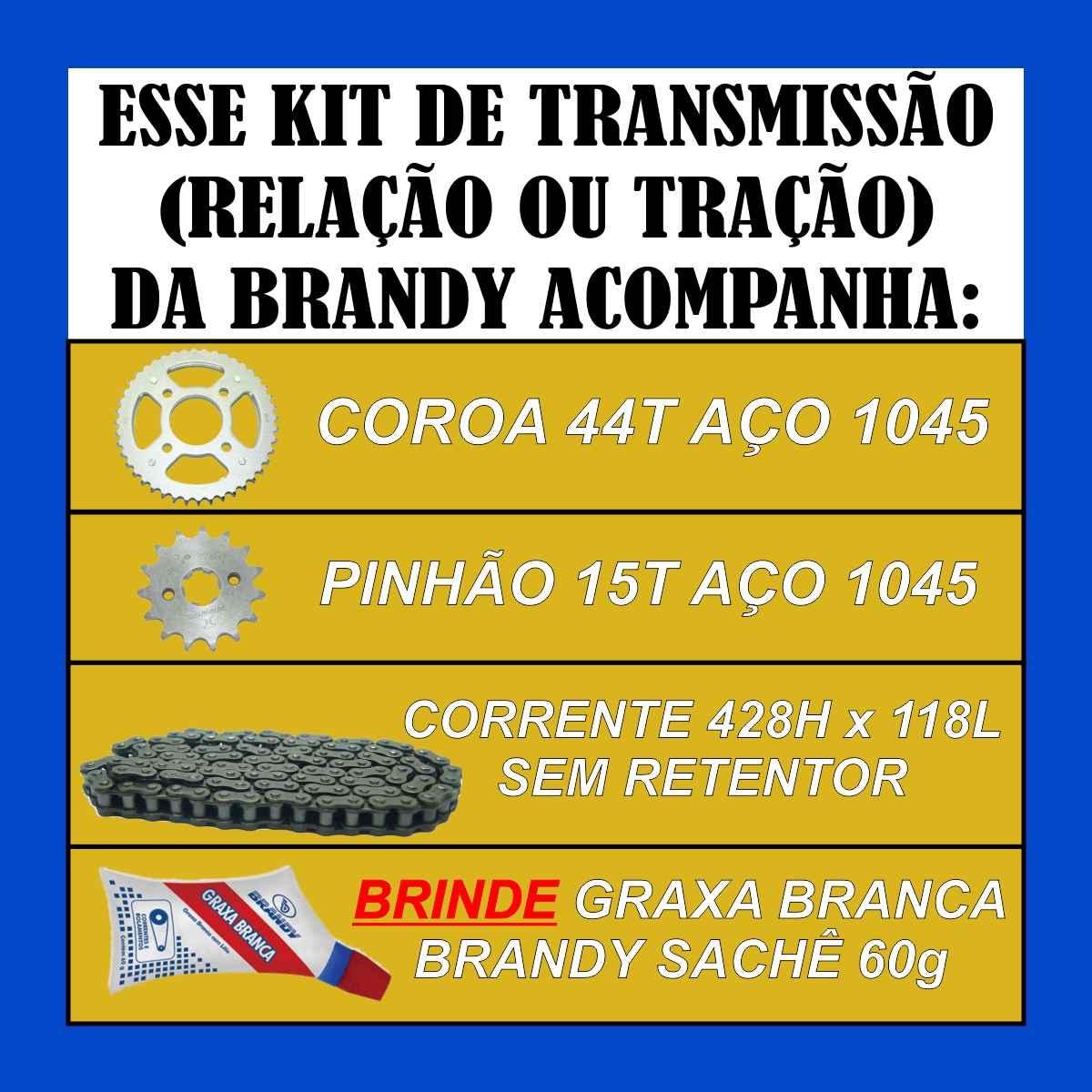 KIT DE TRANSMISSÃO RELAÇÃO MOTO CG TITAN FAN CARGO START 160 DE TRAÇÃO AÇO 1045 + GRAXA SACHÊ 60g