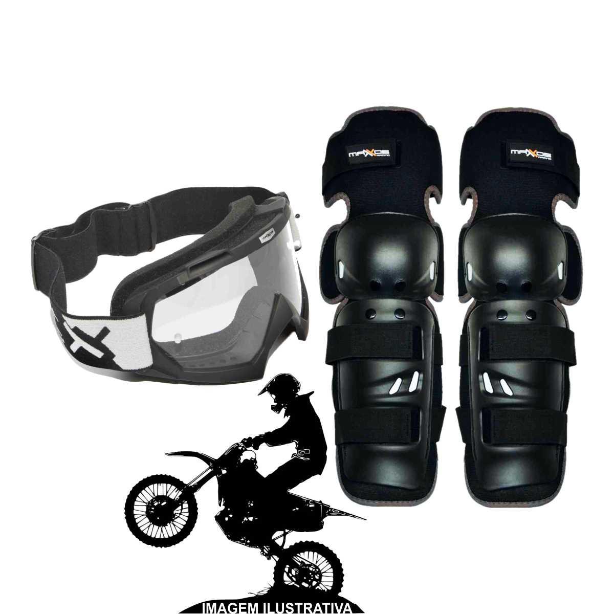 KIT JOELHEIRA DE MOTOCROSS MATTOS RACING MX1 PRETO + ÓCULOS COMBAT TRILHA OFF-ROAD LENTE CRISTAL