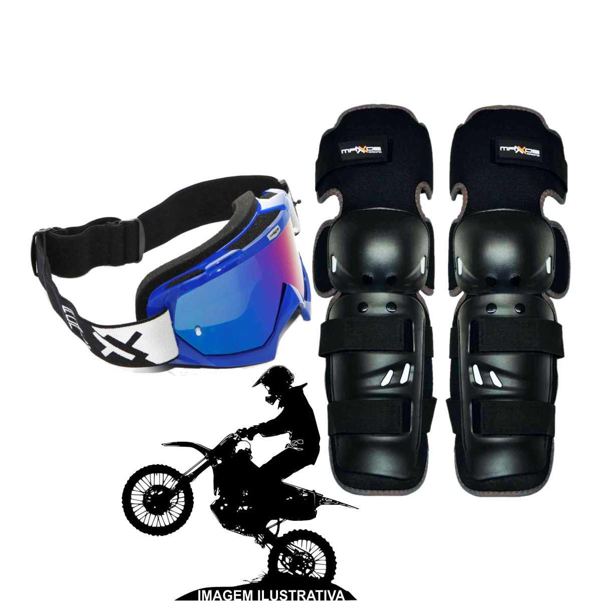 KIT JOELHEIRA DE MOTOCROSS MATTOS RACING MX1 PRETO + ÓCULOS COMBAT TRILHA OFF-ROAD LENTE ESPELHADA