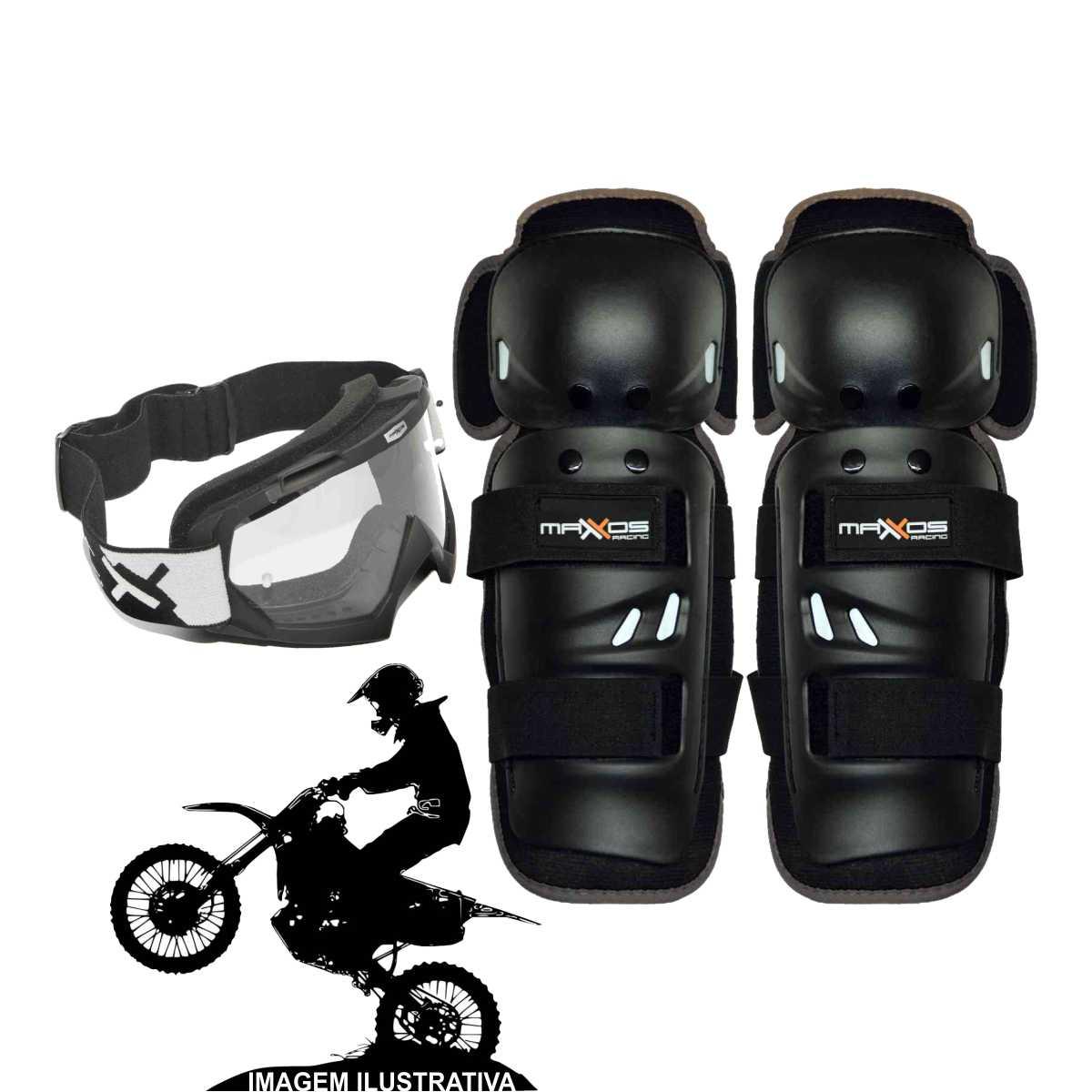 KIT JOELHEIRA MOTOCROSS MATTOS RACING MX PRETO + ÓCULOS CROSS OFF-ROAD COMBAT LENTE CRISTAL
