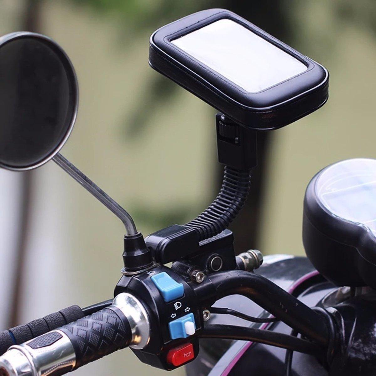 """KIT MOTOQUEIRO COM PAR DE MANGUITO TÉRMICO POLEGAR + SUPORTE PARA CELULAR GPS 6,2"""" TRAVA RETROVISOR"""
