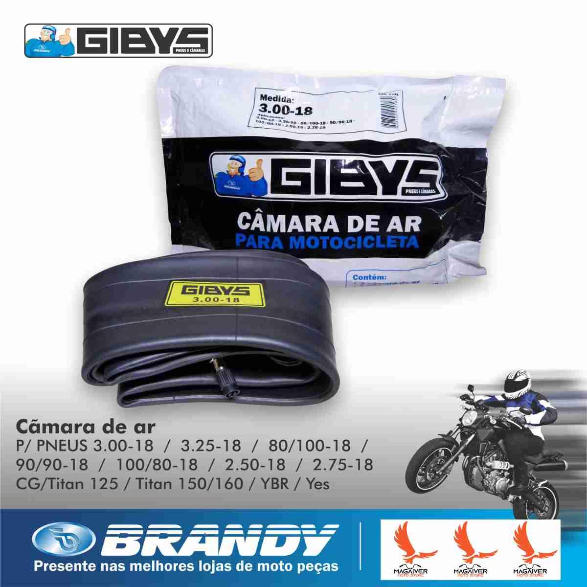 KIT PNEU DE MOTO TRASEIRO CG TITAN FAN 150 160 125 GIBYS 90/90-18 57P + CÂMARA DE AR RODA 18