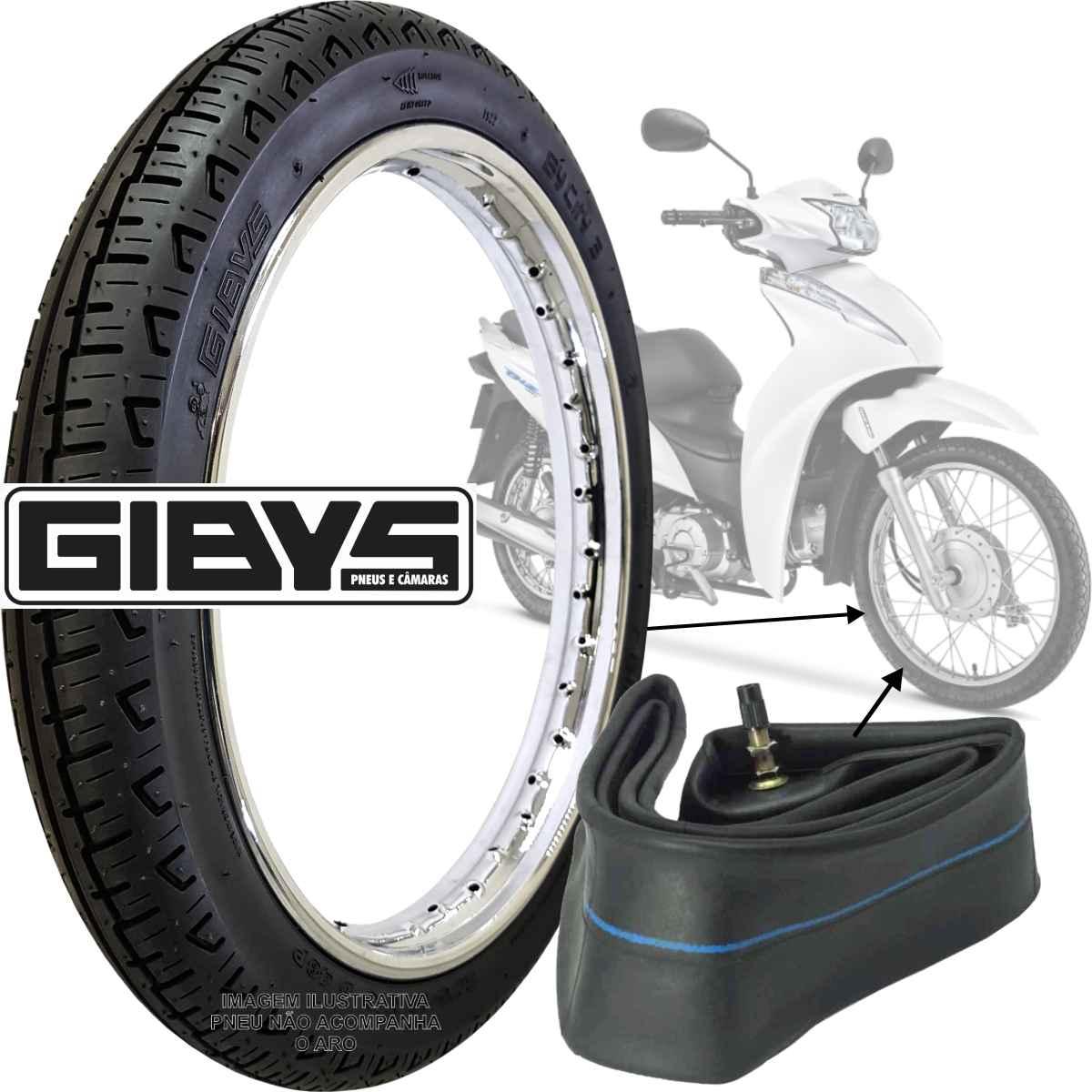 KIT PNEU DE MOTO TRASEIRO GIBYS MOTO BIZ POP 125 110i C100 100 60/100-17 33L + CÂMARA DE AR RODA 17