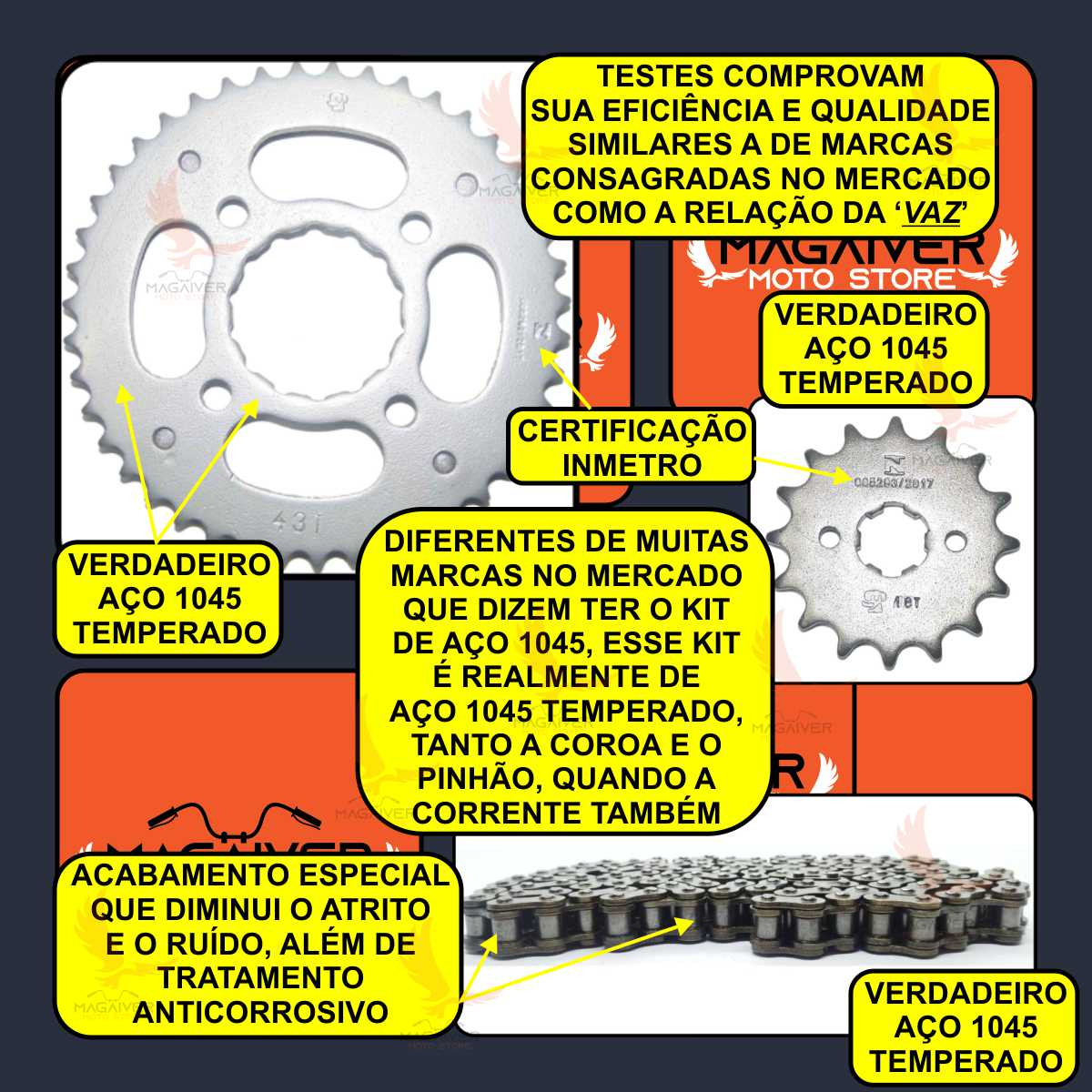 KIT RELAÇÃO TRANSMISSÃO MOTO CG FAN TITAN 150 + GRAXA SPRAY 60ml + JOGO COXIM BUCHA DA COROA DA RODA