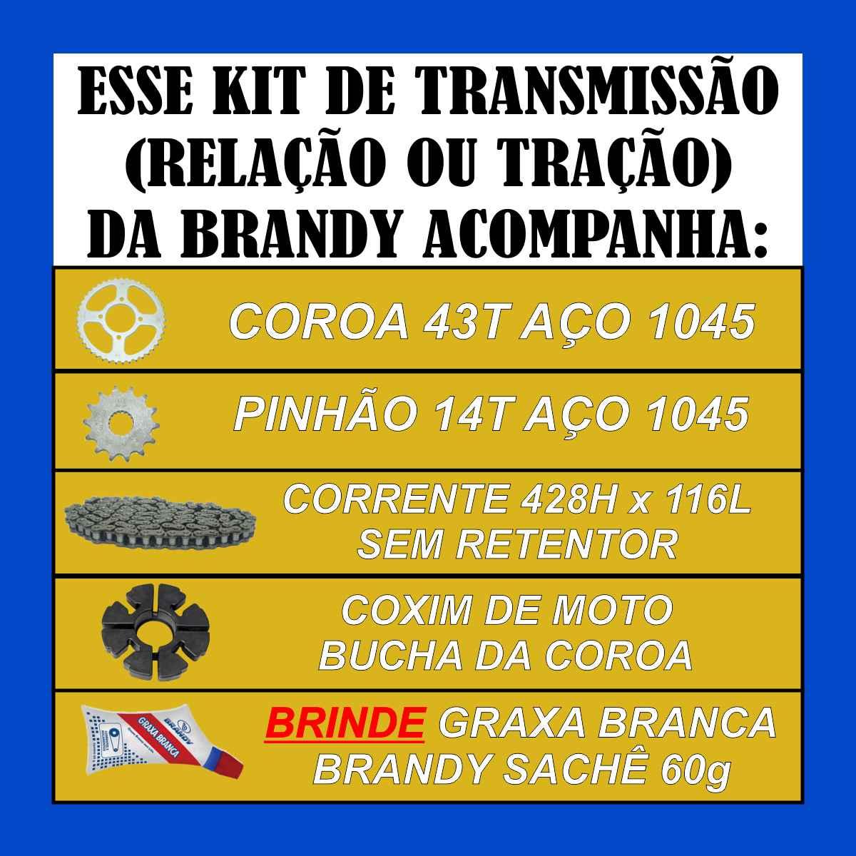 KIT RELAÇÃO TRANSMISSÃO MOTO SUZUKI EN 125 YES SE DE TRAÇÃO + COXIM BUCHA DA COROA + GRAXA SACHÊ 60g