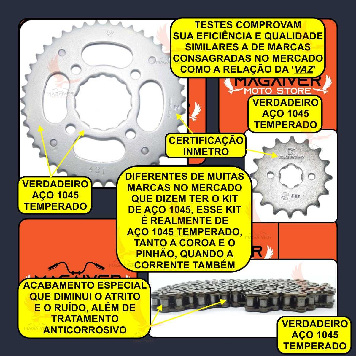 KIT RELAÇÃO TRANSMISSÃO REFORÇADA MOTO CG FAN TITAN 150 SPORT CARGO + GRAXA LUBRIFICANTE SPRAY 60ml