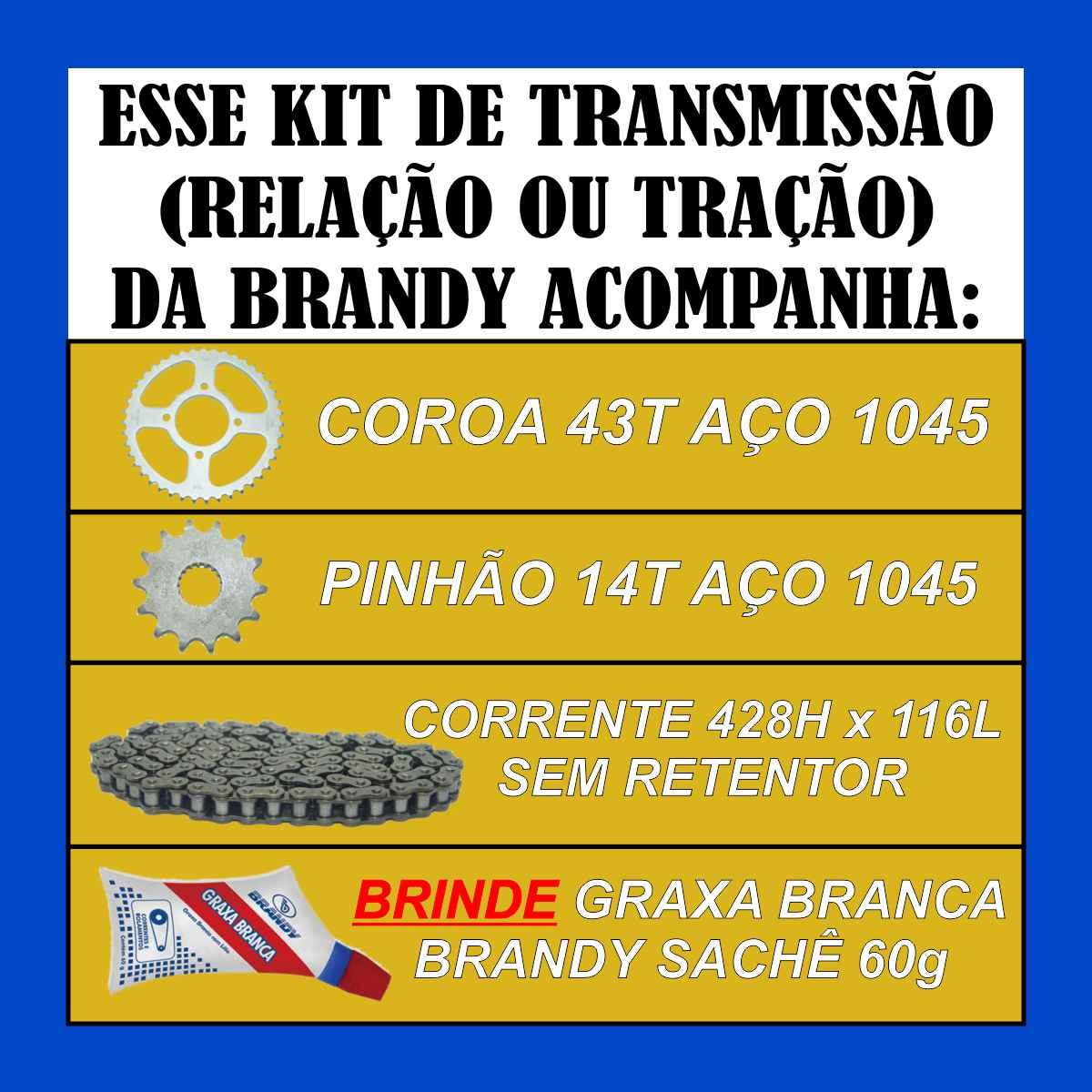 KIT RELAÇÃO TRANSMISSÃO REFORÇADA MOTO SUZUKI EN 125 YES SE DE TRAÇÃO + GRAXA LUBRIFICANTE SACHÊ 60g
