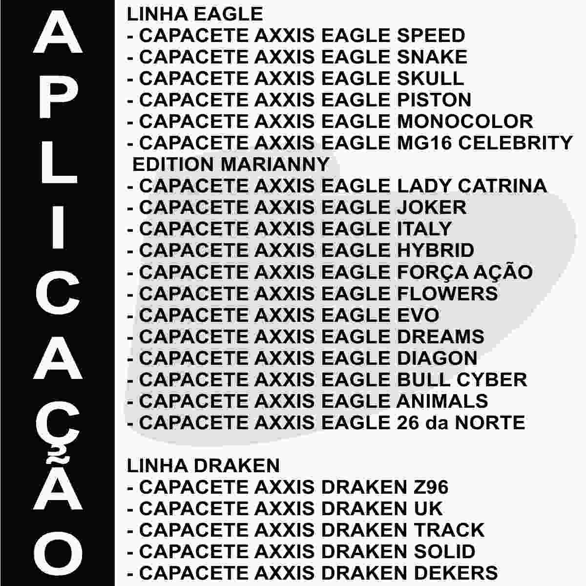 KIT VISEIRA AXXIS EAGLE/DRAKEN SILVER PRATA V18 + SISTEMA DE RETENÇÃO DE VISEIRA