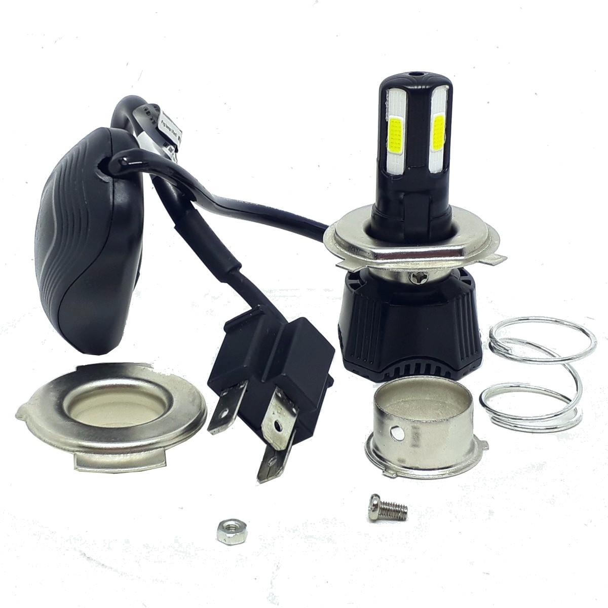 LAMPADA DE LED TMAC P/ MOTO FAROL H4 [42W] 4 LEDs 4600 LUMENS COM REATOR LED007