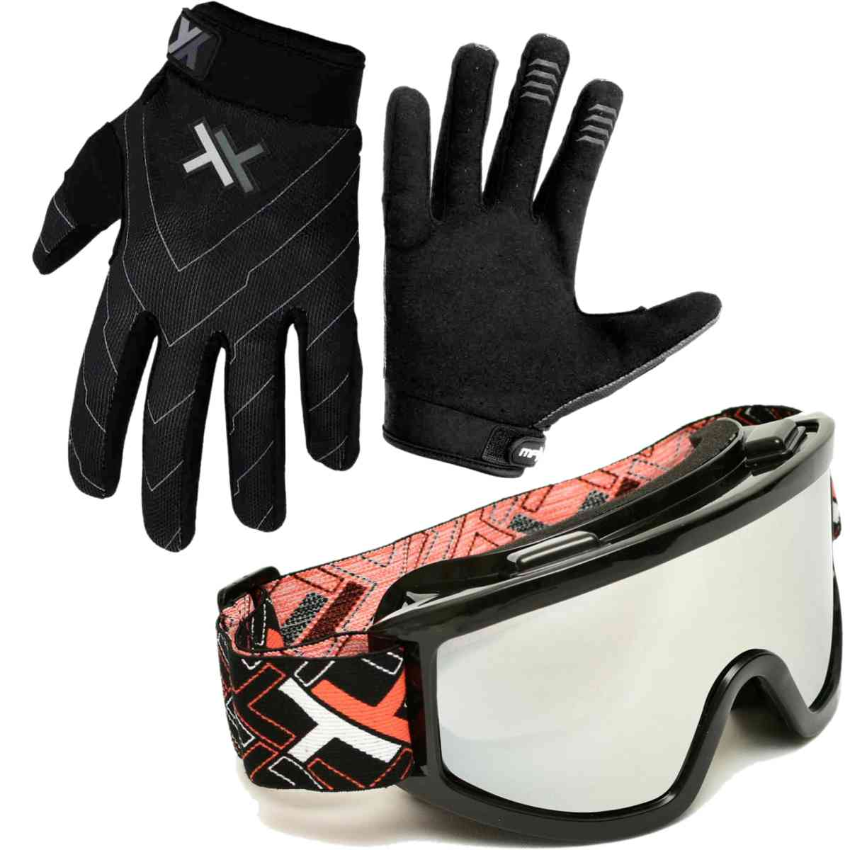 OCULOS CROSS OFF-ROAD MATTOS RACING MX LENTE ESPELHADA + LUVA MOTOCROSS TRILHA ATOMIC
