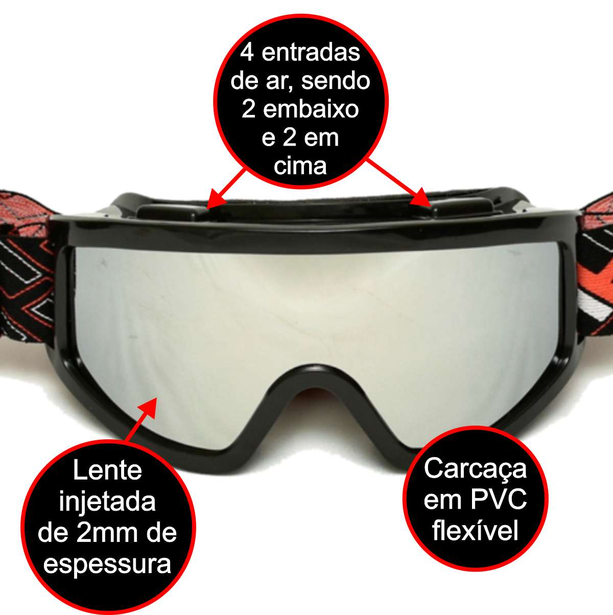 OCULOS CROSS OFF-ROAD MATTOS RACING MX LENTE ESPELHADA PRETO