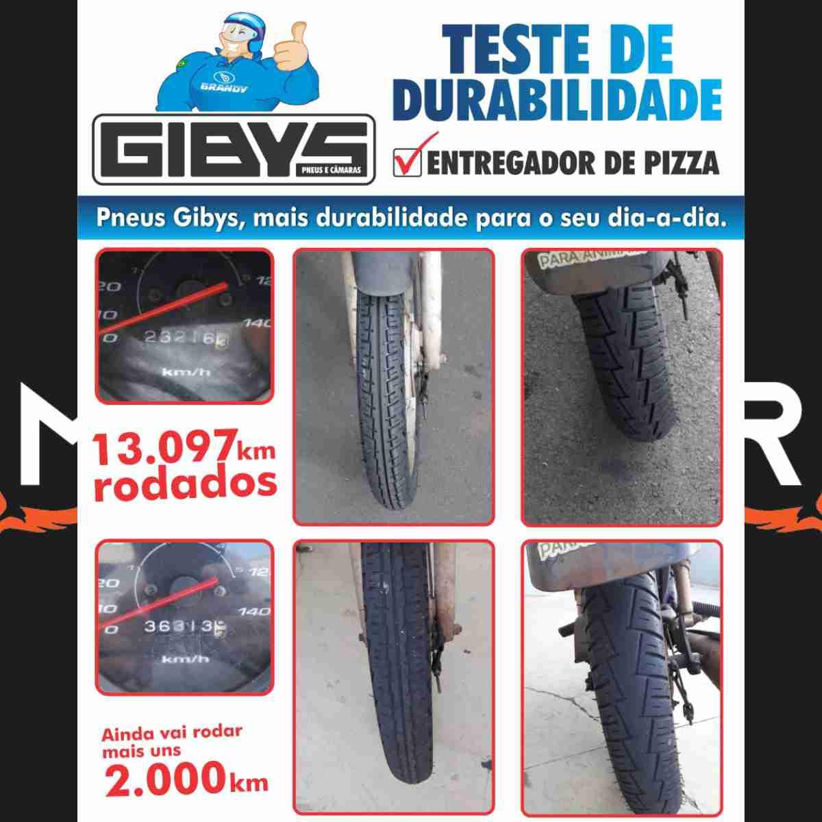 PAR DE PNEUS DE MOTO GIBYS BYCITYPOWER DIANTEIRO 80/100-18 + PNEU TRASEIRO 90/90-18 SEM CÂMARA