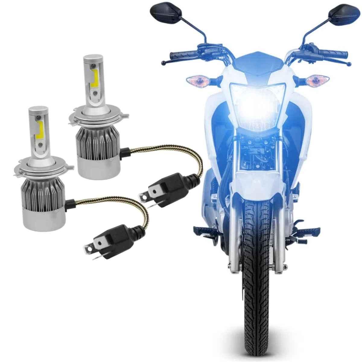 PAR LAMPADA DE LED C6 PARA MOTO E CARRO FAROL H4 [40W] 2 LEDs 3600 LUMENS COM REATOR EMBUTIDO