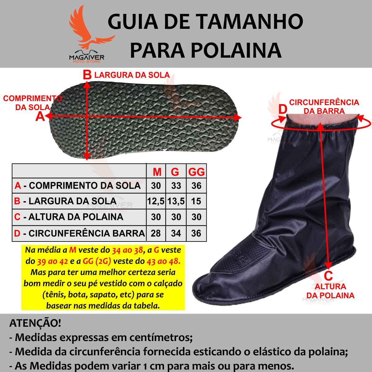 POLAINA DE CHUVA STAR CAPAS IMPERMEÁVEL PVC LUXO COM SOLADO