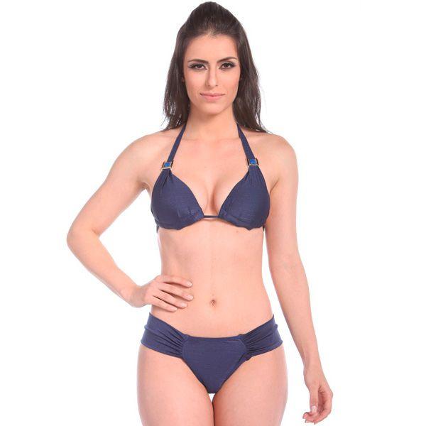 Biquíni Cortininha Canggu - Top Drapeado com Bojo cor Azul Marinho