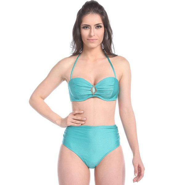 Biquíni Hot Pants Hot Water Beach - Top com Bojo Tomara que Caia cor Verde Jade