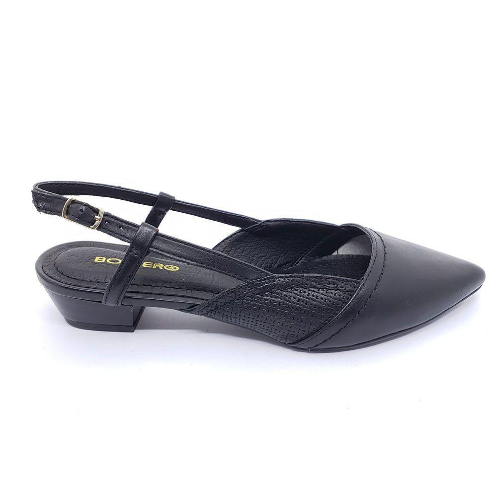 Sapato Bottero Couro Slingback Preto