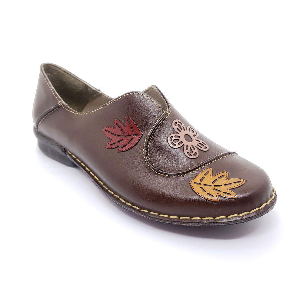 Sapato J Gean em Couro Bordado