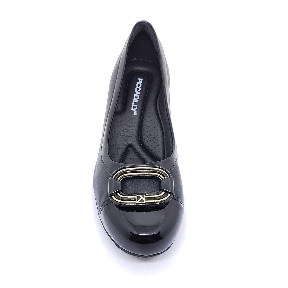 Sapato Piccadilly Salto Médio Bico Redondo com Enfeite