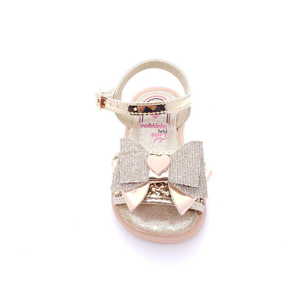 Sandália Baby Molekinha Glitter Ouro Rosado