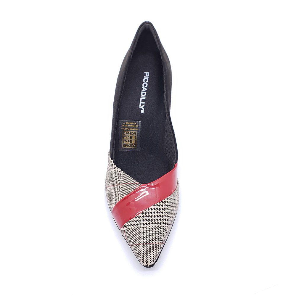 Sapato Scarpin Piccadilly Preto/Xadrez