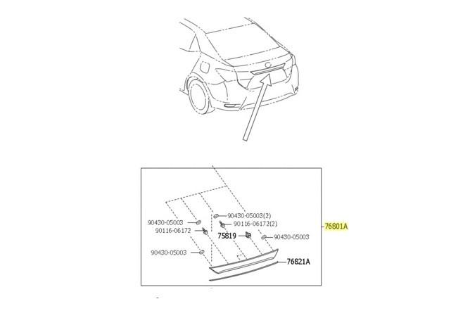Moldura externa tampa do porta malas (Cromada)  - Mirai Peças Toyota