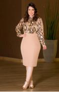 Camisa Em Chiffon Com Fio Lurex Plus Size - Kauly (2865 T)