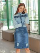 Camisa Jeans C Gola Alta - Moda Evangélica Raje (18575 E)