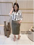 Conj Blusa + Saia - Moda Evangélica Cechiq (5073-5067 E)
