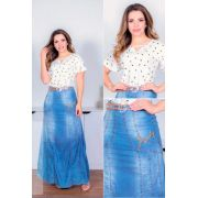 Saia jeans longa bordado - Lançamento Joyaly 2020.